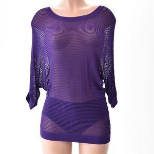 Womans Express Open Weave Knit Top Size S Purple